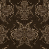 Grunge lace beige ornament. Seamless pattern. Brown background. Best looks on textile, invitation cards and post-cards Stock Photos