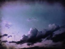 Grunge Landscape with clouds. On old vintage paper stock illustration