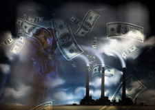 Grunge Landscape with Factory and Currency Stock Images