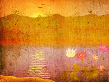 Grunge landscape with flowers Royalty Free Stock Photography
