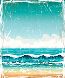 Grunge landscape with sea, waves and cloudy sky Stock Photography