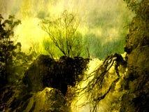 Grunge Landscape Waterfall stock image