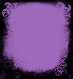 Grunge Lavender Victorian Frame. Black grunge goth frame of spatter and Victorian ornaments Stock Images