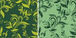 grunge leafs bezszwowy wzoru rocznik dwa royalty ilustracja