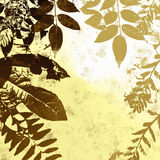 Grunge leaves silhouette. Leaves silhouette on a brown and yellow tone grungy background with copyspace in the middle vector illustration