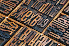 Grunge lettepress wood type abstract. Vintage letterpress wood type printing blocks in a wooden typesetter drawer Stock Photos