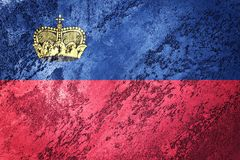 Grunge Liechtenstein flaga Liechtenstein flaga z grunge textur Zdjęcie Stock