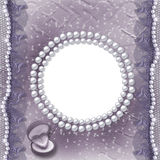Grunge lilac card for invitation or congratulation. With pearls and lace Royalty Free Stock Images