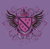 Grunge lilac coat of arms with Fleur-de-lis Stock Photos