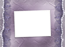 Grunge lilac frame for photo with pearls. And lace Royalty Free Stock Photos