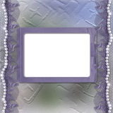 Grunge lilac frame for photo with pearls. And lace Royalty Free Stock Photo