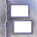 Grunge lilac frame for photo with pearls. And lace Stock Photos