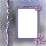 Grunge lilac frame for photo with pearls and lace Royalty Free Stock Images