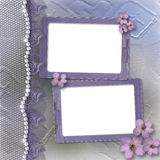 Grunge lilac frame for photo with pearls and lace Royalty Free Stock Photo