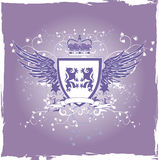 Grunge lilac retro shield with lions Royalty Free Stock Photo