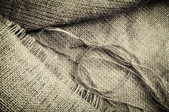 Grunge linen sack texture Stock Images