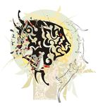 Grunge lion head against the ornate sun. Tribal abstract stylized lion head with colorful splashes Stock Image