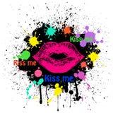 Grunge lips on black Stock Photos