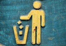 Grunge Litter sign. On the bin Stock Photos