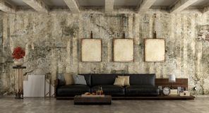 Grunge living room. Grunge room with old wall and wooden sofa with leather cushions - 3d rendering Royalty Free Stock Photo