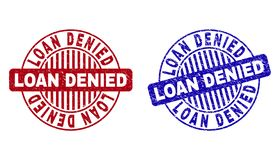 Grunge LOAN DENIED Textured Round Watermarks. Grunge LOAN DENIED round stamps isolated on a white background. Round seals with grunge texture in red and blue vector illustration