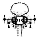 Grunge Lock Emblem. Black and white grunge padlock emblem design Royalty Free Stock Photography