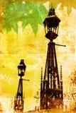 Grunge London lampposts Royalty Free Stock Photography