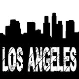 Grunge Los Angeles. Text with skyline illustration Stock Images