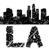 Grunge Los Angeles skyline with text Stock Photo