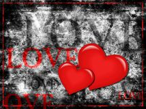 Grunge love. Two red 3D hearts and different size love words on rough textured grey grunge background Royalty Free Stock Photo