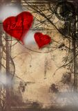 Grunge love. Image of two hearts on an abstract grunge background Royalty Free Stock Photo