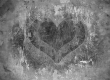 Grunge love. Black and white grunge heart Royalty Free Stock Photography