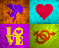 GRUNGE LOVE. Digital Illustration of love elements: Cupid, Heart, the word Love and Male /Female symbols Royalty Free Stock Photo