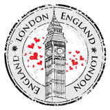 Grunge love heart stamp London Great Britain, Big Ben tower Stock Image