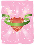 Grunge Love Pattern. Vector image of pattern with heart and ribbon on pink background with grunge elements Stock Image