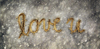 Grunge love you with snowflake and rain abstract background Stock Photography