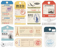 Grunge Luggage Tags set 1. A set of high detail grunge Passport and Luggage Tags, Tickets and stamps Royalty Free Stock Photo