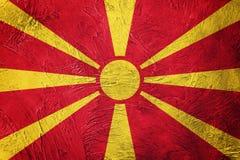 Grunge Macedonia flaga Macedońska flaga z grunge teksturą Obraz Royalty Free