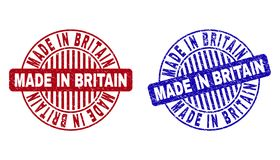 Grunge MADE IN BRITAIN Scratched Round Stamp Seals. Grunge MADE IN BRITAIN round stamp seals isolated on a white background. Round seals with grunge texture in stock illustration