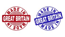 Grunge MADE IN GREAT BRITAIN Textured Round Stamps. Grunge MADE IN GREAT BRITAIN round stamp seals isolated on a white background. Round seals with grunge royalty free illustration