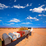 Grunge mail boxes in California Mohave desert USA Royalty Free Stock Photos