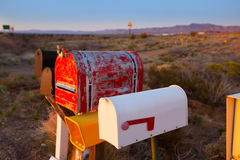 Grunge mail boxes in a row at Arizona desert Royalty Free Stock Photo