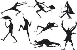 Grunge man silhouettes. In different situations Royalty Free Stock Images