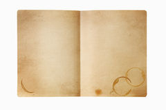 Grunge manila folder with coffee stains, isolated on white. Royalty Free Stock Image