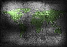Grunge map on old wall Royalty Free Stock Photography