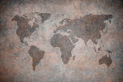 Grunge map of the world stock illustration