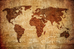 Grunge map of the world Stock Image