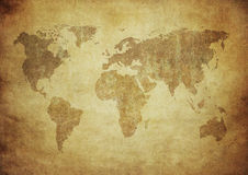 Grunge map of the world Royalty Free Stock Photography