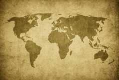Grunge map of the world Royalty Free Stock Photos