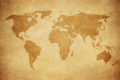 Grunge map of the world. Grunge vintage map of the world stock photos